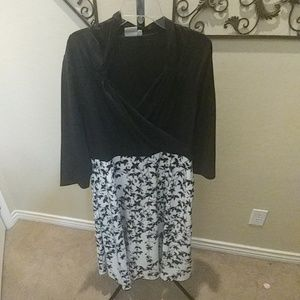Black dress with patterned skirt